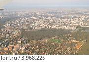 Самолет разворачивается у границы города Москвы, фото № 3968225, снято 26 сентября 2012 г. (c) Татьяна Юни / Фотобанк Лори