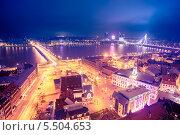 Ночная Рига с церкви Святого Петра, фото № 5504653, снято 5 января 2014 г. (c) Донцов Евгений Викторович / Фотобанк Лори