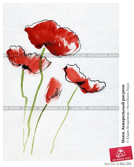 Маки акварельный рисунок