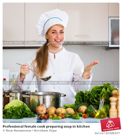 Amateur cook in kitchen professional