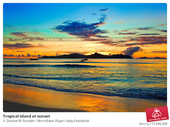 Tropical island sunset background