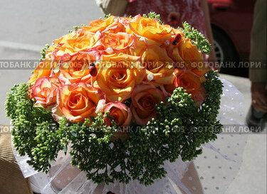 Купить «Букет невесты из рыжих роз», эксклюзивное фото № 2005, снято 20 августа 2005 г. (c) Ирина Терентьева / Фотобанк Лори