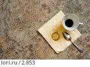 Купить «Пустая чашка из-под кофе и отпечаток от чашки на салфетке», фото № 2853, снято 7 февраля 2006 г. (c) Лисовская Наталья / Фотобанк Лори
