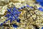 Рождественские гирлянды синего и желтого цвета в форме снежинок, фото № 14145, снято 22 ноября 2006 г. (c) Александр Паррус / Фотобанк Лори
