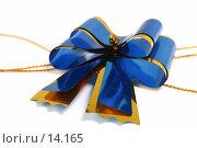 Купить «Синий праздничный бант для оформления подарка и поздравления, на белом фоне», фото № 14165, снято 25 ноября 2006 г. (c) Александр Паррус / Фотобанк Лори