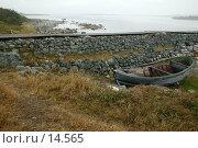 Купить «Соловецкий остров. Лодка у дамбы», фото № 14565, снято 18 августа 2007 г. (c) Михаил Ворожцов / Фотобанк Лори