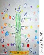 Купить «Детский рисунок: новогодняя елка», иллюстрация № 16741 (c) SummeRain / Фотобанк Лори