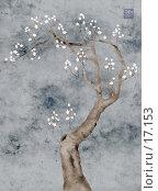 Купить «цветущее дерево, цветы прорисованы отдельно, стилизация», иллюстрация № 17153 (c) Tamara Kulikova / Фотобанк Лори