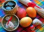 Пасхальный натюрморт с цветными яйцами и декоративными безделушками, фото № 19625, снято 25 января 2007 г. (c) only / Фотобанк Лори