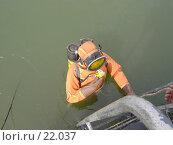 Купить «Спуск в воду водолаза», фото № 22037, снято 20 августа 2006 г. (c) Maxim Kamchatka / Фотобанк Лори