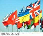 Флаги различных государств развеваются на ветру. Стоковое фото, фотограф Сайганов Александр / Фотобанк Лори
