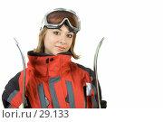 Купить «Девушка горнолыжница», фото № 29133, снято 24 марта 2007 г. (c) Вадим Пономаренко / Фотобанк Лори