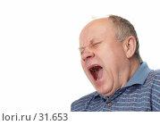 Купить «Пожилой человек зевает. На чистом белом фоне.», фото № 31653, снято 24 марта 2007 г. (c) Сергей Старуш / Фотобанк Лори