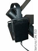 Купить «Черные наушники на черной стойке. Белый фон.», фото № 34153, снято 19 апреля 2007 г. (c) Golden_Tulip / Фотобанк Лори