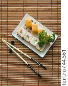 Купить «Японское угощение — роллы», фото № 44561, снято 17 мая 2007 г. (c) Давид Мзареулян / Фотобанк Лори