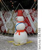 Купить «Снеговик на лыжах у елки», фото № 50169, снято 7 января 2006 г. (c) Fro / Фотобанк Лори