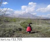 Купить «Человек смотрит на вулкан», фото № 53705, снято 10 июня 2007 г. (c) Maxim Kamchatka / Фотобанк Лори