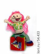 Купить «Весёлая кукла сидит на кубике», фото № 54433, снято 7 апреля 2007 г. (c) Елена Мельникова / Фотобанк Лори