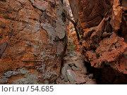 Купить «Caranbirini conservation reserve. Узкий проход между скалами», фото № 54685, снято 4 июля 2007 г. (c) Eleanor Wilks / Фотобанк Лори