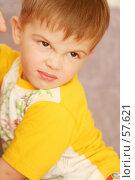 Купить «Эмоции сердитого ребенка в желтой футболке», фото № 57621, снято 26 октября 2006 г. (c) Останина Екатерина / Фотобанк Лори