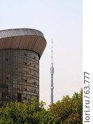 """Купить «СК """"Олимпийский"""" и Останкинская башня», фото № 63777, снято 11 июня 2007 г. (c) Крупнов Денис / Фотобанк Лори"""