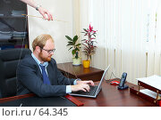 Купить «Мужчина-марионетка в офисе, за ноутбуком работает», фото № 64345, снято 22 июля 2007 г. (c) Ирина Мойсеева / Фотобанк Лори