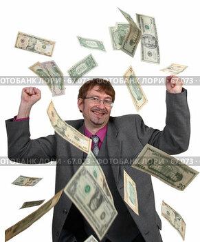 Купить «Деньги падают на успешного бизнесмена - удачная сделка», фото № 67073, снято 21 июня 2007 г. (c) Harry / Фотобанк Лори
