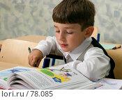 Купить «Первоклассник читает азбуку в классе», фото № 78085, снято 19 августа 2007 г. (c) Татьяна Белова / Фотобанк Лори
