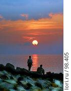 Купить «Двое на закате», фото № 98405, снято 8 августа 2004 г. (c) Морозова Татьяна / Фотобанк Лори