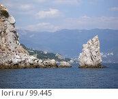 Купить «Скала Парус, Гаспра, Крым», фото № 99445, снято 13 сентября 2005 г. (c) Елена Руденко / Фотобанк Лори