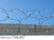 Купить «Спираль из колючей проволоки над железобетонным забором», фото № 100497, снято 21 сентября 2018 г. (c) Александр Тараканов / Фотобанк Лори