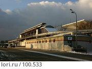 Купить «Станция монорельсовой дороги около ВВЦ при вечернем освещении», фото № 100533, снято 28 ноября 2004 г. (c) Harry / Фотобанк Лори
