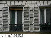 Купить «Окна на парижской улице. Архитектурный фрагмент.», фото № 102529, снято 26 марта 2019 г. (c) Harry / Фотобанк Лори