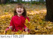 Купить «Ребенок смеется, сидя в опавшей кленовой листве», фото № 105297, снято 24 мая 2019 г. (c) Ольга Сапегина / Фотобанк Лори