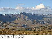 Купить «Тува: Вид на долину реки Каргы с перевала», фото № 111513, снято 28 июля 2006 г. (c) Александр Гершензон / Фотобанк Лори