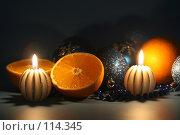 Купить «Новогодняя открытка со свечами», фото № 114345, снято 8 ноября 2007 г. (c) Елена Блохина / Фотобанк Лори