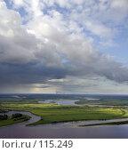 Купить «Кучевые облака над рекой с высоты полета птицы», фото № 115249, снято 9 августа 2006 г. (c) Владимир Мельников / Фотобанк Лори