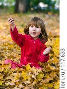 Купить «Счастливый трехлетний ребенок играет с листвой и каштаном, сидя на земле», фото № 117633, снято 1 октября 2007 г. (c) Ольга Сапегина / Фотобанк Лори