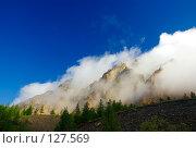 Купить «Утренние облака над скалами (широкоугольный снимок). Morning clouds over rock», фото № 127569, снято 17 августа 2007 г. (c) Дмитрий Ощепков / Фотобанк Лори
