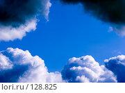 Купить «Чистое небо обрамленное грозовыми тучами», фото № 128825, снято 27 августа 2007 г. (c) Ольга Сапегина / Фотобанк Лори
