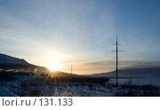Купить «Зимний закат над горами», фото № 131133, снято 20 ноября 2007 г. (c) Ольга Красавина / Фотобанк Лори