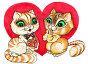 Валентинка. Кот и кошка на фоне сердца. Рисунок акварель, иллюстрация № 137289 (c) Татьяна Мельникова / Фотобанк Лори