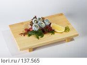 Купить «Сашими - кальмар и огурец», фото № 137565, снято 14 декабря 2006 г. (c) Иван Сазыкин / Фотобанк Лори