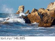 Синее море бушует в лучах закатного солнца. Стоковое фото, фотограф Сергей Старуш / Фотобанк Лори