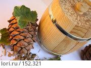 Купить «Кедровая шишка и бочонок меда на белом фоне», фото № 152321, снято 24 ноября 2007 г. (c) Юлия Паршина / Фотобанк Лори