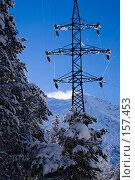 Купить «Линия электропередачи в горах Кавказа», фото № 157453, снято 15 декабря 2007 г. (c) Борис Панасюк / Фотобанк Лори