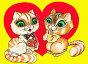 День Святого Валентина. Кот и кошка на фоне сердца. Открытка. Рисунок акварель, иллюстрация № 160321 (c) Татьяна Мельникова / Фотобанк Лори