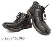 Купить «Пара мужских черных зимних ботинок со шнурками», фото № 160965, снято 26 ноября 2006 г. (c) Александр Паррус / Фотобанк Лори