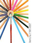 Купить «Набор карандашей и кисточка на белом фоне», фото № 161037, снято 9 октября 2006 г. (c) Александр Паррус / Фотобанк Лори