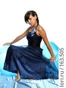 Купить «Девушка в синем выпускном платье, на надувном кресле», фото № 163505, снято 26 июля 2007 г. (c) Александр Паррус / Фотобанк Лори